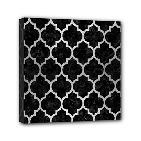 Tile1 Black Marble & Silver Brushed Metal Mini Canvas 6  X 6  (stretched) by trendistuff