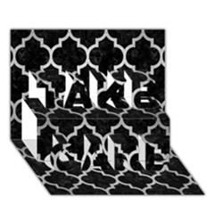 Tile1 Black Marble & Silver Brushed Metal Take Care 3d Greeting Card (7x5)