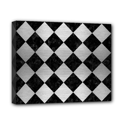 Square2 Black Marble & Silver Brushed Metal Canvas 10  X 8  (stretched) by trendistuff