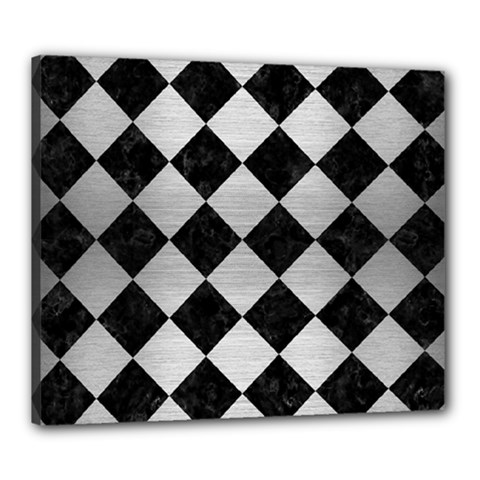 Square2 Black Marble & Silver Brushed Metal Canvas 24  X 20  (stretched) by trendistuff