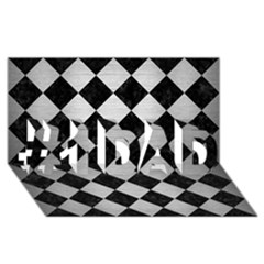 Square2 Black Marble & Silver Brushed Metal #1 Dad 3d Greeting Card (8x4) by trendistuff