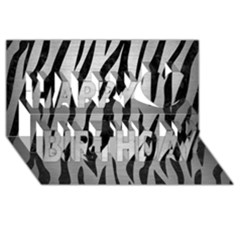 Skin3 Black Marble & Silver Brushed Metal (r) Happy Birthday 3d Greeting Card (8x4)
