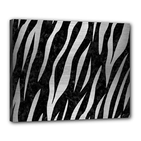 Skin3 Black Marble & Silver Brushed Metal Canvas 20  X 16  (stretched) by trendistuff