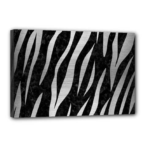 Skin3 Black Marble & Silver Brushed Metal Canvas 18  X 12  (stretched) by trendistuff