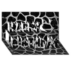 Skin1 Black Marble & Silver Brushed Metal (r) Happy Birthday 3d Greeting Card (8x4)