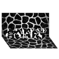 Skin1 Black Marble & Silver Brushed Metal (r) Sorry 3d Greeting Card (8x4)
