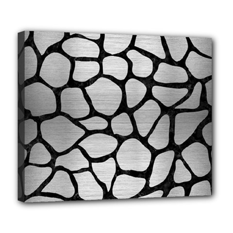 Skin1 Black Marble & Silver Brushed Metal Deluxe Canvas 24  X 20  (stretched) by trendistuff