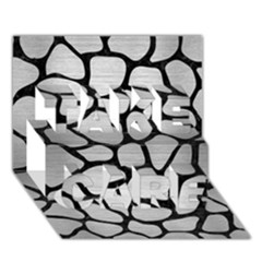 Skin1 Black Marble & Silver Brushed Metal Take Care 3d Greeting Card (7x5)