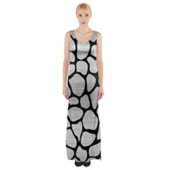 Skin1 Black Marble & Silver Brushed Metal Maxi Thigh Split Dress by trendistuff