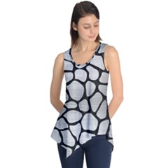 Skin1 Black Marble & Silver Brushed Metal Sleeveless Tunic