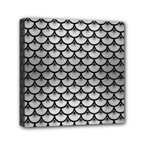 Scales3 Black Marble & Silver Brushed Metal (r) Mini Canvas 6  X 6  (stretched) by trendistuff