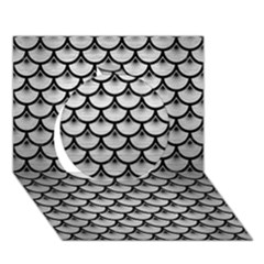 Scales3 Black Marble & Silver Brushed Metal (r) Circle 3d Greeting Card (7x5)