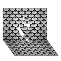 Scales3 Black Marble & Silver Brushed Metal (r) Ribbon 3d Greeting Card (7x5)