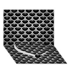 Scales3 Black Marble & Silver Brushed Metal Heart Bottom 3d Greeting Card (7x5)