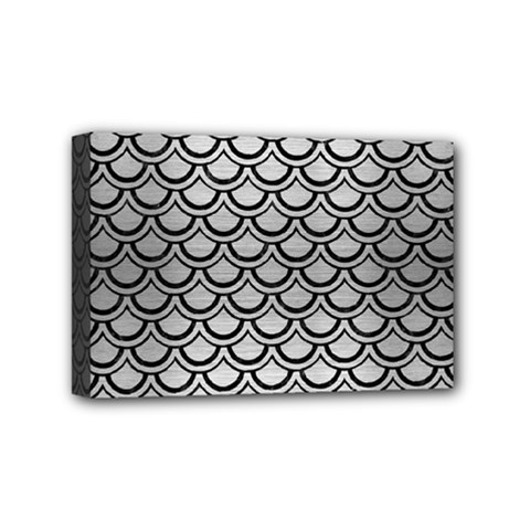 Scales2 Black Marble & Silver Brushed Metal (r) Mini Canvas 6  X 4  (stretched) by trendistuff