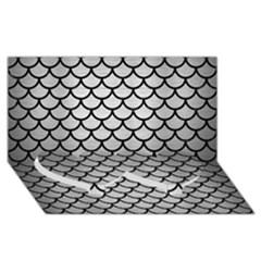 Scales1 Black Marble & Silver Brushed Metal (r) Twin Heart Bottom 3d Greeting Card (8x4) by trendistuff