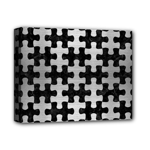 Puzzle1 Black Marble & Silver Brushed Metal Deluxe Canvas 14  X 11  (stretched) by trendistuff