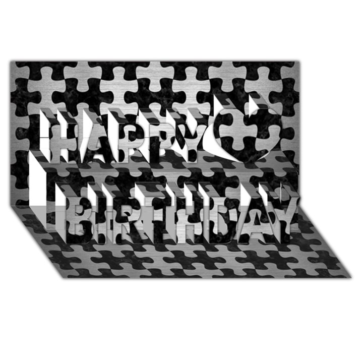 PUZZLE1 BLACK MARBLE & SILVER BRUSHED METAL Happy Birthday 3D Greeting Card (8x4)