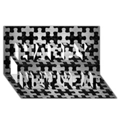 Puzzle1 Black Marble & Silver Brushed Metal Happy New Year 3d Greeting Card (8x4) by trendistuff