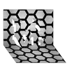 Hexagon2 Black Marble & Silver Brushed Metal (r) Love 3d Greeting Card (7x5) by trendistuff