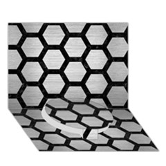 Hexagon2 Black Marble & Silver Brushed Metal (r) Circle Bottom 3d Greeting Card (7x5)