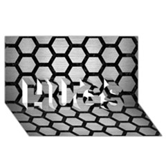 Hexagon2 Black Marble & Silver Brushed Metal (r) Hugs 3d Greeting Card (8x4)