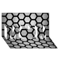 Hexagon2 Black Marble & Silver Brushed Metal Mom 3d Greeting Card (8x4)