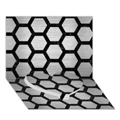 Hexagon2 Black Marble & Silver Brushed Metal Heart Bottom 3d Greeting Card (7x5) by trendistuff