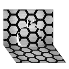 Hexagon2 Black Marble & Silver Brushed Metal Apple 3d Greeting Card (7x5)