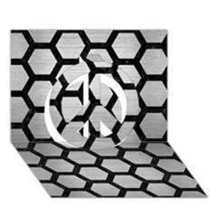 Hexagon2 Black Marble & Silver Brushed Metal Peace Sign 3d Greeting Card (7x5)