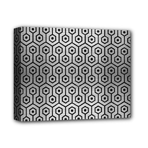 Hexagon1 Black Marble & Silver Brushed Metal (r) Deluxe Canvas 14  X 11  (stretched) by trendistuff
