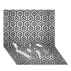 Hexagon1 Black Marble & Silver Brushed Metal (r) Love Bottom 3d Greeting Card (7x5) by trendistuff