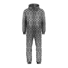 Hexagon1 Black Marble & Silver Brushed Metal (r) Hooded Jumpsuit (kids)