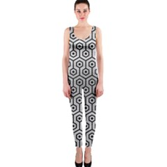Hexagon1 Black Marble & Silver Brushed Metal (r) Onepiece Catsuit by trendistuff