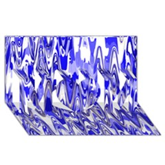 Funky Chevron Blue Mom 3d Greeting Card (8x4)