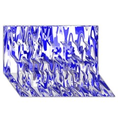 Funky Chevron Blue Happy New Year 3d Greeting Card (8x4)  by MoreColorsinLife