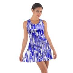Funky Chevron Blue Racerback Dresses