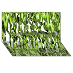 Funky Chevron Green Happy Birthday 3d Greeting Card (8x4)