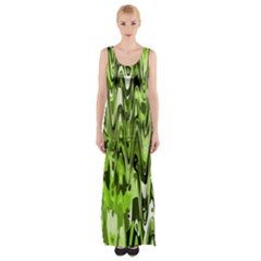 Funky Chevron Green Maxi Thigh Split Dress