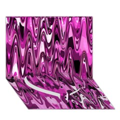 Funky Chevron Hot Pink Heart Bottom 3d Greeting Card (7x5)  by MoreColorsinLife