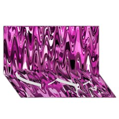 Funky Chevron Hot Pink Twin Heart Bottom 3d Greeting Card (8x4)  by MoreColorsinLife