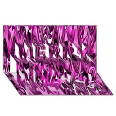 Funky Chevron Hot Pink Merry Xmas 3d Greeting Card (8x4)  by MoreColorsinLife
