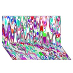 Funky Chevron Multicolor Twin Heart Bottom 3d Greeting Card (8x4)  by MoreColorsinLife