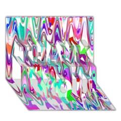 Funky Chevron Multicolor Thank You 3d Greeting Card (7x5)