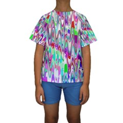 Funky Chevron Multicolor Kid s Short Sleeve Swimwear