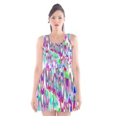 Funky Chevron Multicolor Scoop Neck Skater Dress by MoreColorsinLife