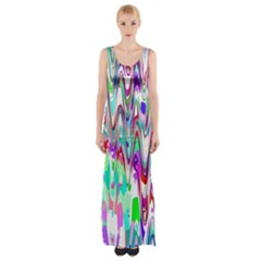 Funky Chevron Multicolor Maxi Thigh Split Dress by MoreColorsinLife
