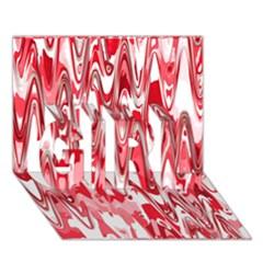 Funky Chevron Red Girl 3d Greeting Card (7x5)