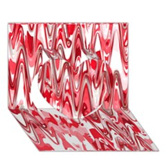 Funky Chevron Red Heart 3d Greeting Card (7x5)