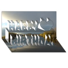 View   On The Lake Happy Birthday 3d Greeting Card (8x4)